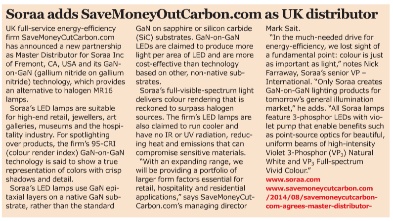 SaveMoneyCutCarbon Soraa partnership news in SemiConductor magazine