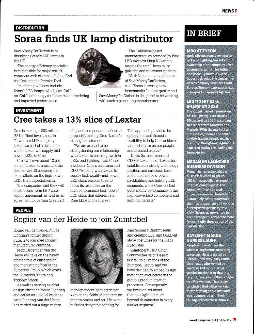Lux magazine Soraa partnership with SaveMoneyCutCarbon.com story