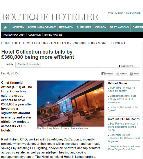 Boutique Hotelier Hotel Collection £360,000 water and energy saving story