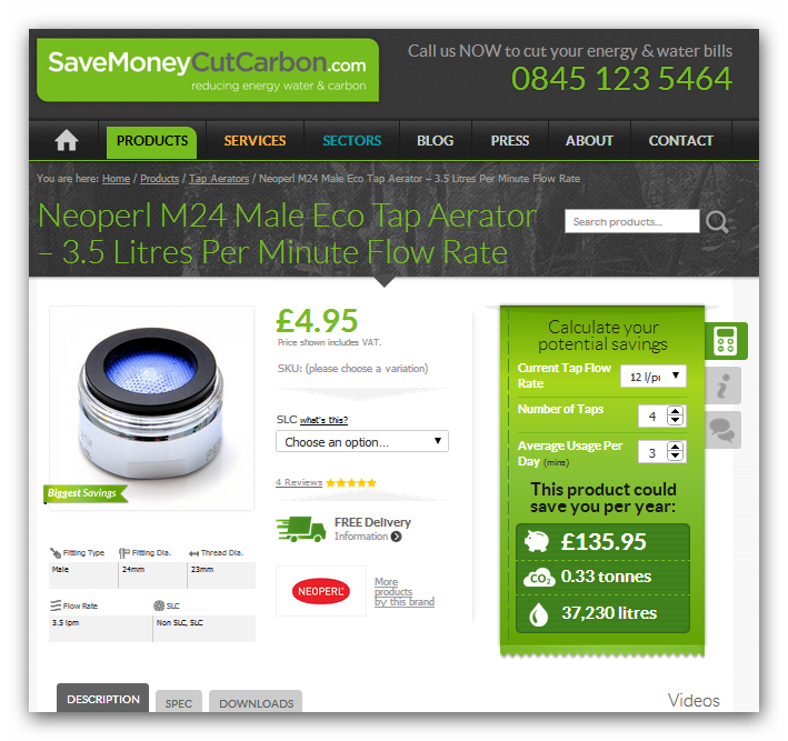Screen shot of SaveMoneyCutCarbon tap aerator savings calculator