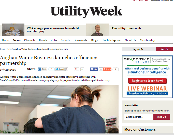 Utility Week story on Anglian Water Business partnership with SaveMomeyCutCarbon