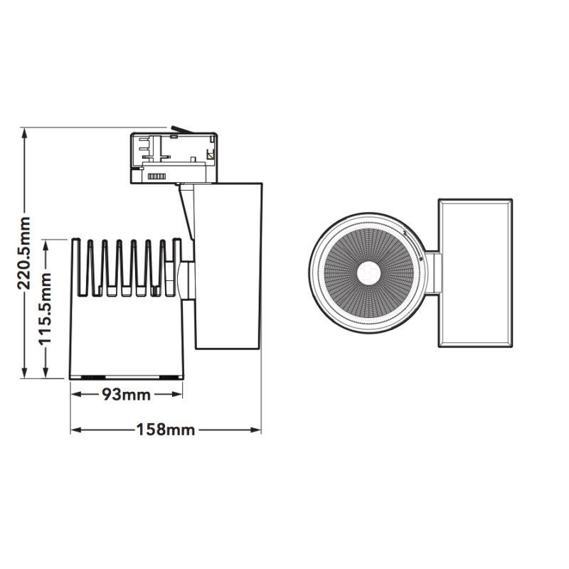 Verbatim 2nd Generation Black LED Track Light 35W 3000k-dimension
