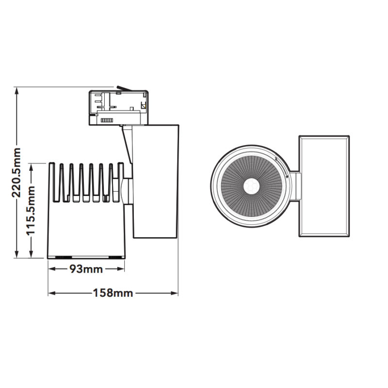 Verbatim 2nd Generation White LED Track Light 35W 4000k-dimension