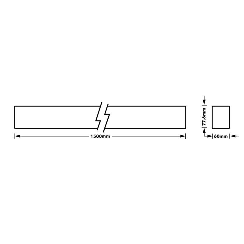 Verbatim LED Linear 1500mm 30W 3000K White Dimension