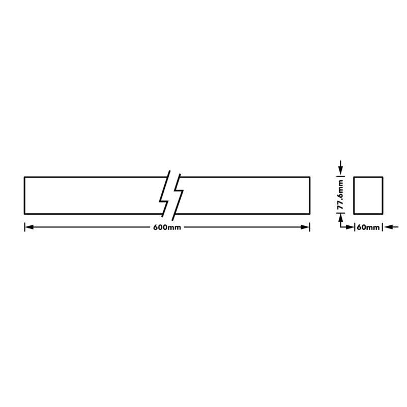 Verbatim LED Linear 600mm 12W 4000K White Dimension