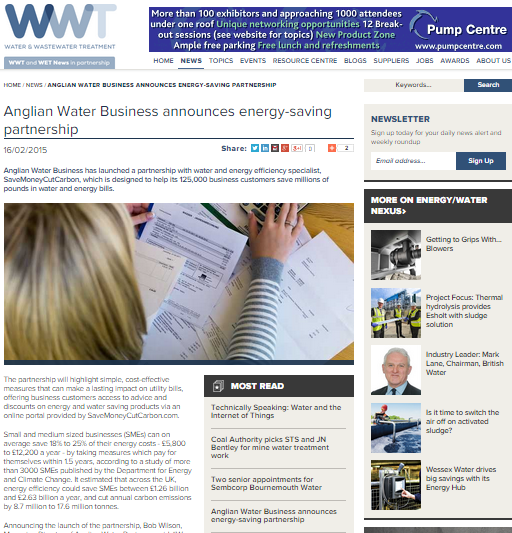 Water and Wasterwater Treatment Onine article about Anglian Water Business's partnership with SaveMoneyCutCarbon