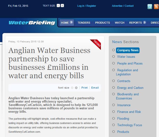 Water Briefing news portal story on Anglian Water Business SME energy saving partnership with SaveMoneyCutCarbon