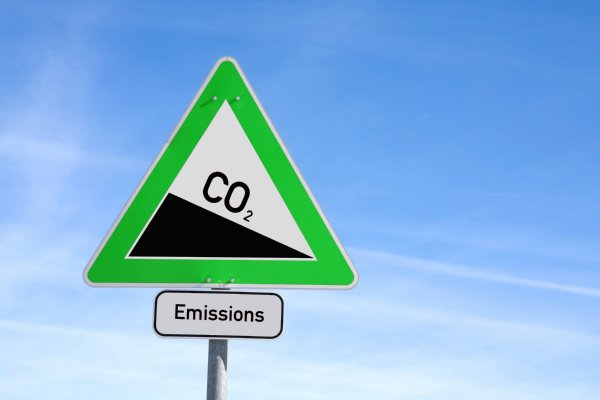 Image of roadsign with CO2 reduction as downhill graphic