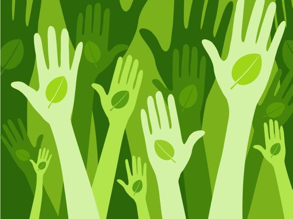 Image of green hands up illustrating blog post on energy saving at work