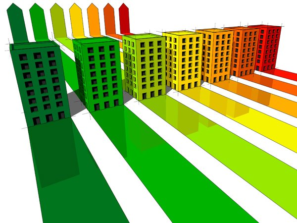 Graphic of energy saving buildings with EPC colour shadows