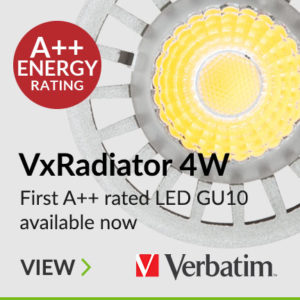 The Verbatim LED VxRadiator GU10 4W A++ is the first ever A++ energy efficiency rated LED GU10 Spotlight