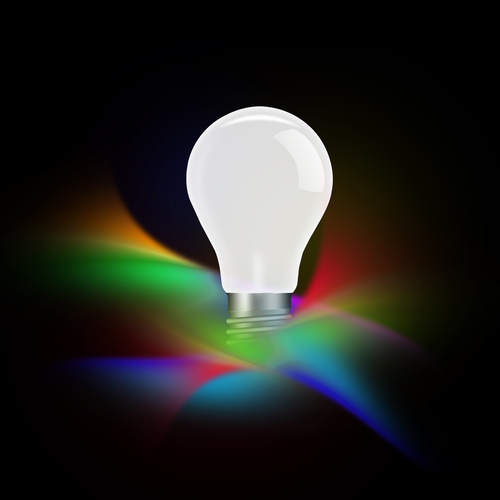 Image of LED lightbulb with money-saving blog post