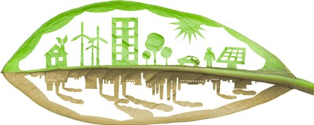 Graphic image reflecting green eco world and polluted planet